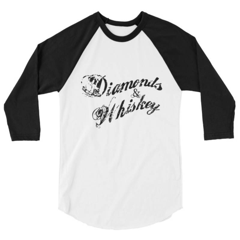 Diamonds & Whiskey 3/4 Sleeve Baseball Shirt